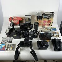 Vintage Camera, lens, flashes and more AS IS untested for parts restoration