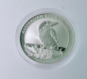 2021 P Australia 1 oz .999 Silver Kookaburra $1 Coin BU  bullion in capsule #647