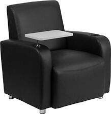 Flash Furniture Black Leather Guest Chair w/Tablet Arm, Chrome Legs & Cup Holder