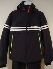BOGNER FIRE & ICE Menswear Black Striped Detachable Hood Ski Jacket EU46 US36