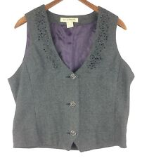 Stetson Ladie's or Youth Gray Herringbone Beaded Wool Blend Lined Vest Size L