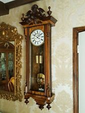 Antique 2 weight Vienna regulator wall Clock walnut case