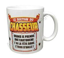 """Mug cadeau """"Le dicton du chasseur"""" idée cadeau tasse café originale neuf"""