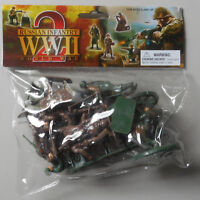 1:32 WWII Russian Infantry Weapons Plastic Toy Soldier Figures 12 In Bag
