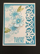 """Stampin Up Card Kit Set Of 4 Any Occasion """"To A Great Friend"""" Turquoise Flowers"""