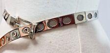 Womens Vintage Belt Sz S SM Ornate Silver Tone Metal w/Buckle Waist 26 to 29.5