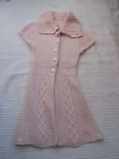 Saint Tropez       size  Small        PINK  KNITTED  CARDIGAN  COAT  with COLLAR