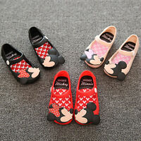 Kids Girls Cartoon Minnie Mouse Jelly Shoes Toddler Kids Summer Flats Sandals