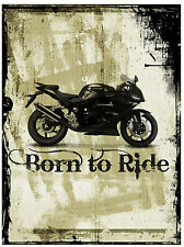MOTORBIKE (BORN TO RIDE) - FUN SOUVENIR NOVELTY FRIDGE MAGNET - NEW GIFT / XMAS