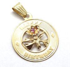 14 K Yellow Gold Amethyst Rose Bud HAPPY BIRTHDAY Necklace Pendant USA Seller