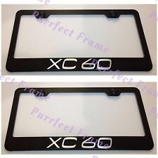 2X VOLVO XC 60 XC60 Black Stainless Steel License Plate Frame Rust Free W/Cap