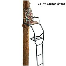 Tree Stand 16' Deluxe Ladder Treestand Deer Hog Hunting Bow Crossbow Archery