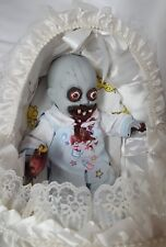 Zombie Baby in Bassinet Halloween Haunted House Prop