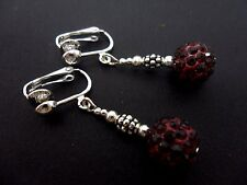 A PAIR OF DANGLY DARK RED SHAMBALLA STYLE   CLIP ON   EARRINGS.