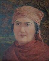 Portrait Study 'A Gipsy Queen' Antique Watercolour Edward Penstone c1870 Exhibit