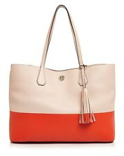 3be7da48099a Tory Burch IN PLASTIC Color Block Perry Leather Tote Pale Apricot Poppy Red