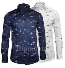 Camicia Uomo Slim Fit Comfort Cotone Manica Lunga Casual Fantasia nuovo 8883