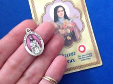 "St THERESE of Lisieux Saint Medal with Relic Holy Card Medal Enamel 1"" Italy"