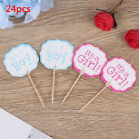 24pcs boy girl Cupcake Cake Toppers Baby Shower Kids Favors Birthday Decor US