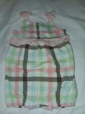 Janie And Jack 2010 Ice Cream Social Plaid Summer Romper Pink Sz 6-12 Months