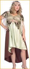 Mother Nature / Goddess / Fairy Costume 2 Pc Gr / Br & Gold Dress & Headpiece Pz