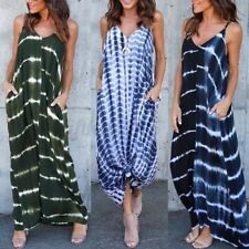 US STOCK Women Printed Strappy Party Long Maxi Dress Summer Beach Sundress Plus