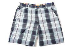 Lululemon Mens Sz 36 Gray Turquoise Plaid Shorts COMFORT STRETCH