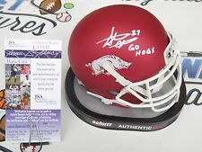 Steve Atwater signed Arkansas Razorbacks red mini helmet Denver Broncos JSA COA