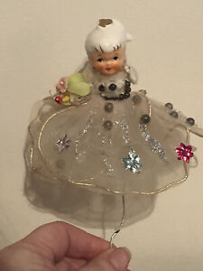 Vintage Christmas Pick With Ceramic Girl Figure