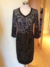 Gerry Weber Dress Size 10 Black Beige Pattern 3/4 Sleeve Now