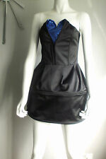 Designer  Black Satin Strapless Bustier Bubble/Cage Dress, Mini Dress Sz 12 NEW