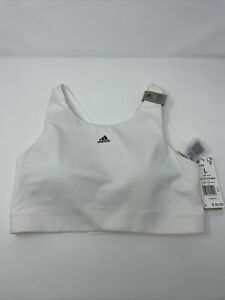 New Women's Adidas Ultimate Alpha Training Sport Bra FL2384- Sz L White