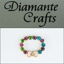 3D Ring with Pink Bow Gold Alloy Encrusted in Multi-coloured Diamantes 2013R