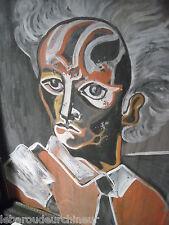 MAGNIFIQUE huile sur isorel portrait de Jean Cocteau par Jean Cocteau?