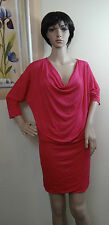 NWOT BELLA D pink 3/4 sleeve mini stretchy cowl neck dress,size L,MISS BELT