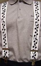 """Suspenders 2""""x48"""" FULLY Elastic Music Notes NEW Black on White"""