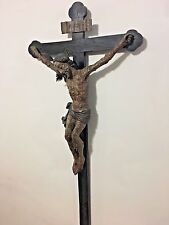 AMAZING LATE RENAISSANCE CARVED WOOD PLAGUE CROSS FROM TYROL CA. 1670