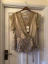 985a59303737 New By Malene Birger Blanca 100% Silk Cream & Lace Wrap Blouse Top,40