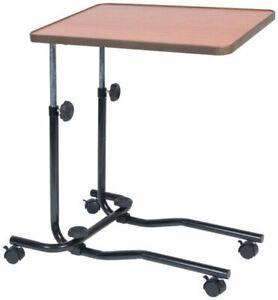 Adjustable Multipurpose Overbed Table Tilting Top Four Castors Desk, NEW