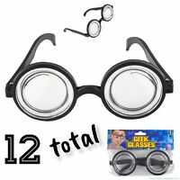 12 Nerd Glasses Round Bubbles Glasses Bug Eyes Specs Coke Bottle Costume Goggles