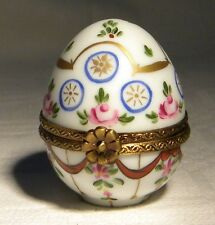 SL LIMOGES TRINKET / PILL BOX SIGNED  EGG FLOWER  CLASP