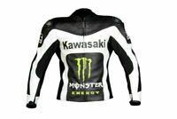 Replica Monster Motorbike Leather Jacket Motorcycle Racing Kawasaki Cow Hide