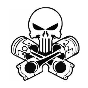 JDM OEM Aufkleber Punisher Pistons Skull Logo Aufkleber 15 cm Decal Sticker