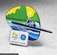 OLYMPIC PINS BADGE 2016 RIO DE JANEIRO BRAZIL GE SPONSOR SPORT CANOE SLIDER LOGO