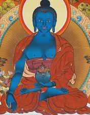 """26"""" BLESSED TIBETAN THANGKA PAINTING POSTER: MEDICINE BUDDHA ON GOLDEN LOTUS ="""