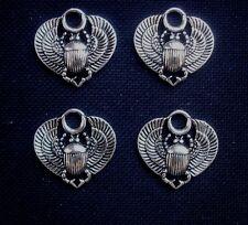 4 Colgantes Charms Escarabajo En Metal Plateado 25mm