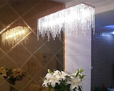 7PM Modern Linear Rectangular Dining Room Crystal Chandelier Lighting L32""