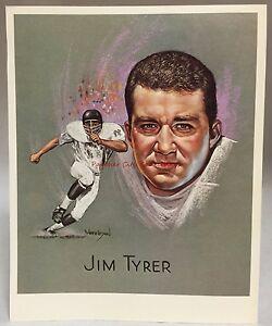 1969 Kroger Premium Artist Print Card Jim Tyrer Dallas Texans Kansas City Chiefs