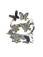 STERLING SILVER CUBIC ZIRCON MULTI-BUTTERFLY ROW FLOWER BAND RING SIZE 7