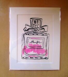 ORIGINAL ART - Pink perfume bottle illustration watercolour with mat board